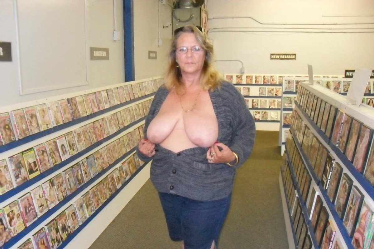 Flashing tits public granny in