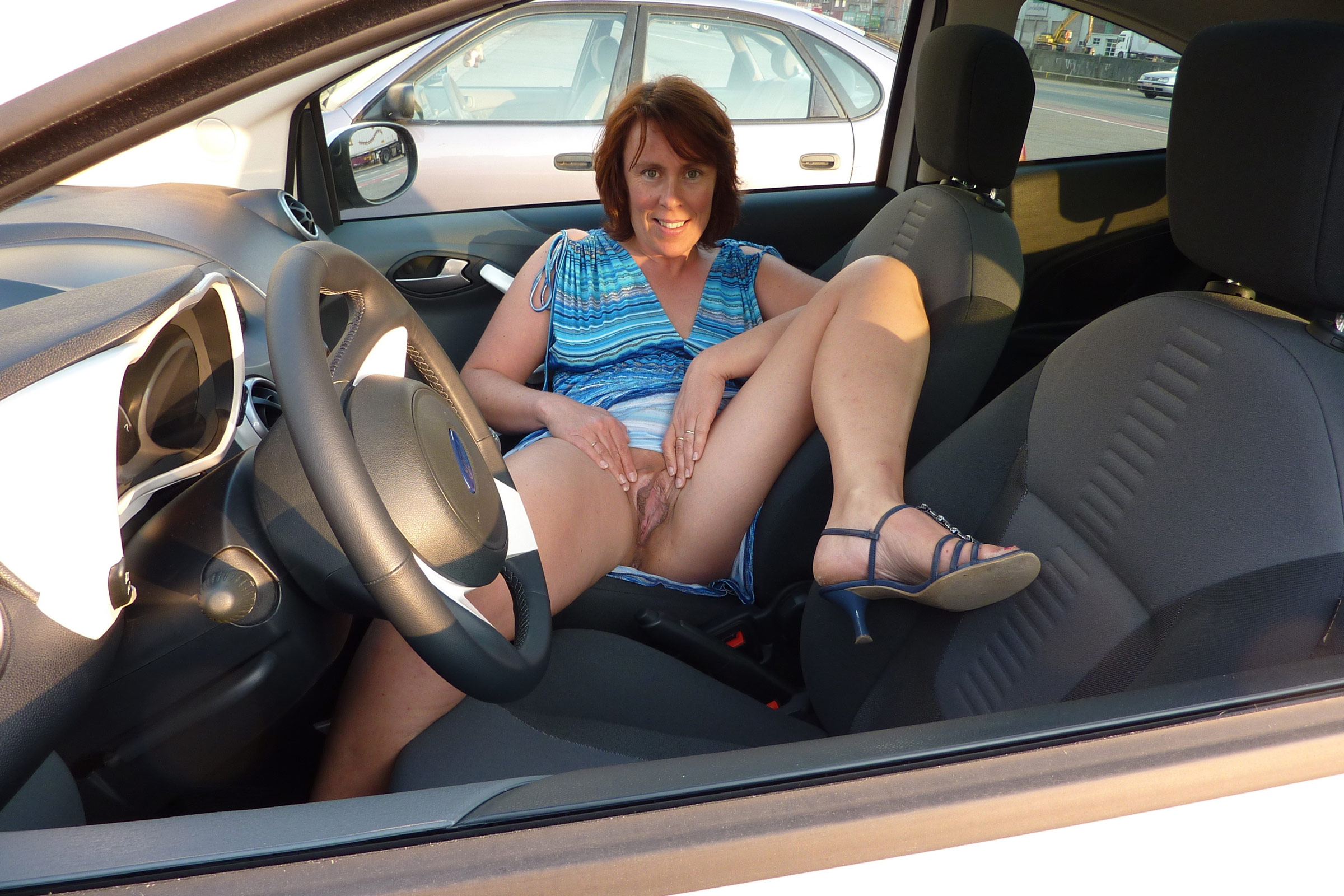 On car naked mature a women working